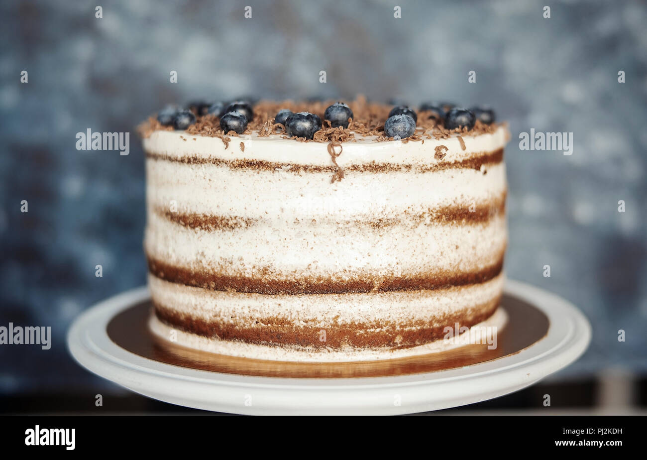 Close up of chocolate cake with cream cheese and berries on dark background. - Stock Image