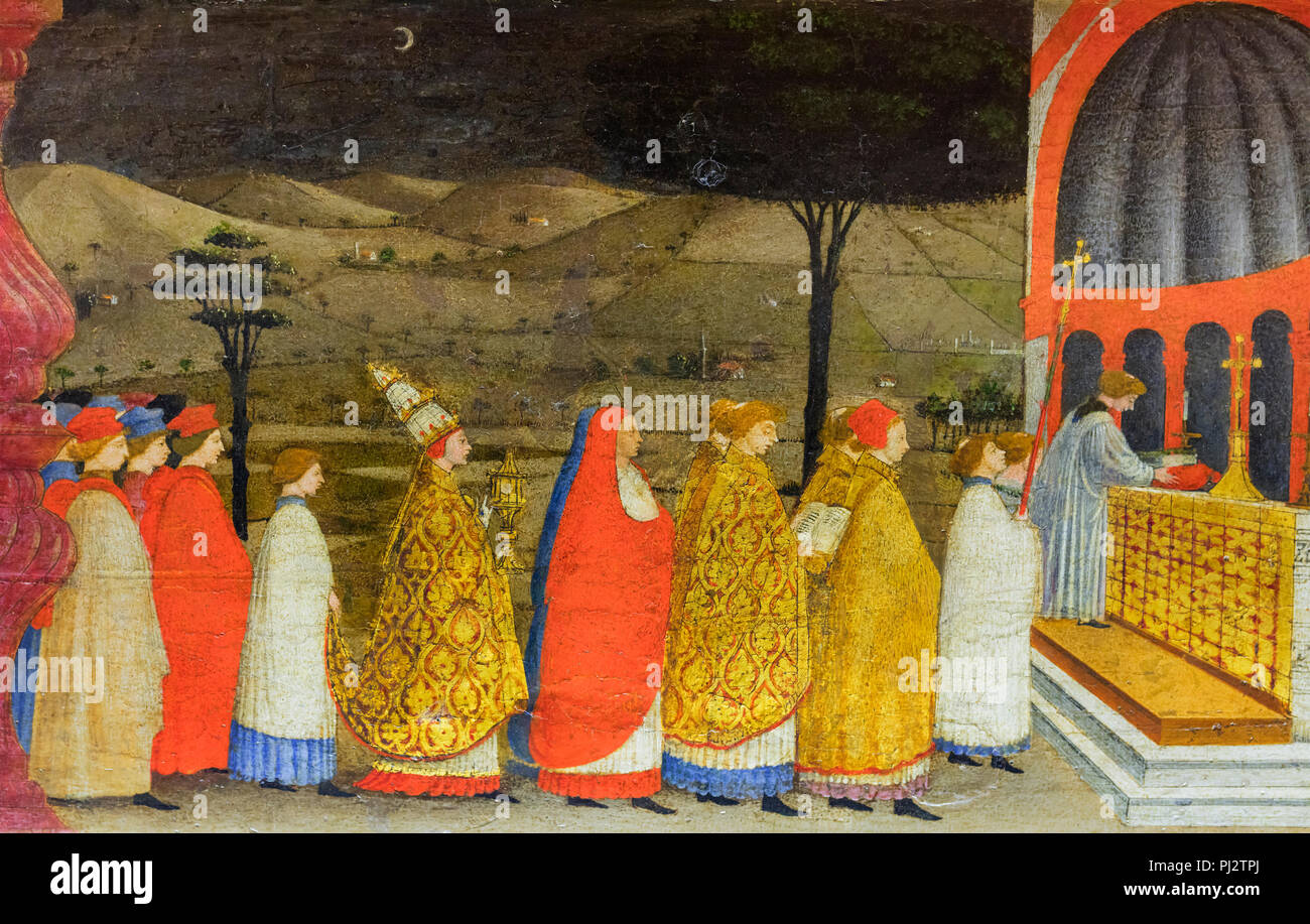 Paolo Uccello, Miracle of the Desecrated Host, painting (15th century), Ducal Palace, Palazzo Ducale, Urbino, Marche, Italy - Stock Image