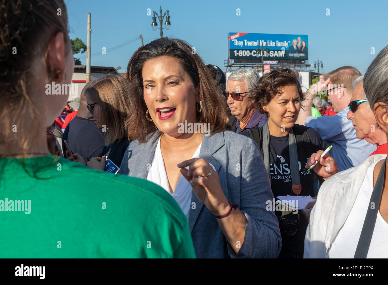 Detroit, Michigan - 3 September 2018 - Gretchen Whitmer, the Democratic candidate for governor of Michigan, campaigns at Detroit's Labor Day parade. Stock Photo