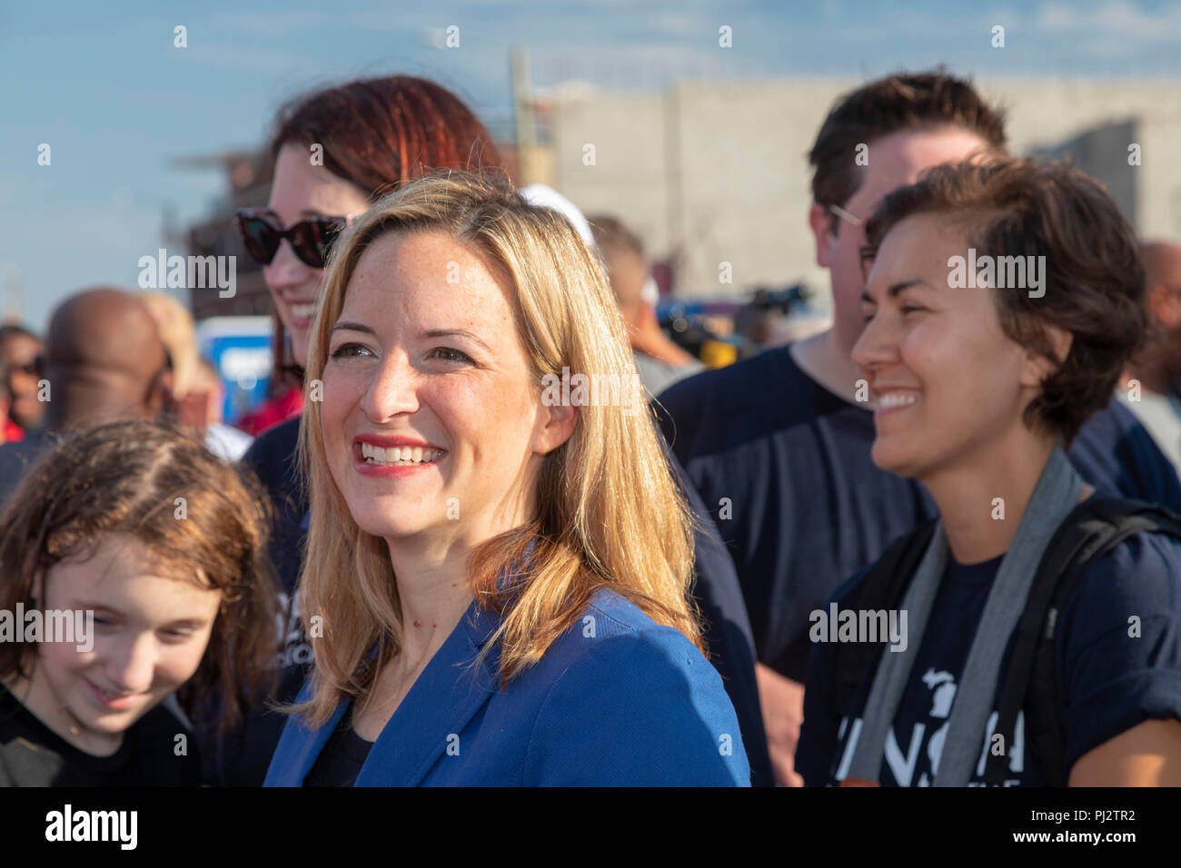 Detroit, Michigan - 3 September 2018 - Jocelyn Benson, the Democratic candidate for Michigan Secretary of State, campaigns at Detroit's Labor Day para Stock Photo