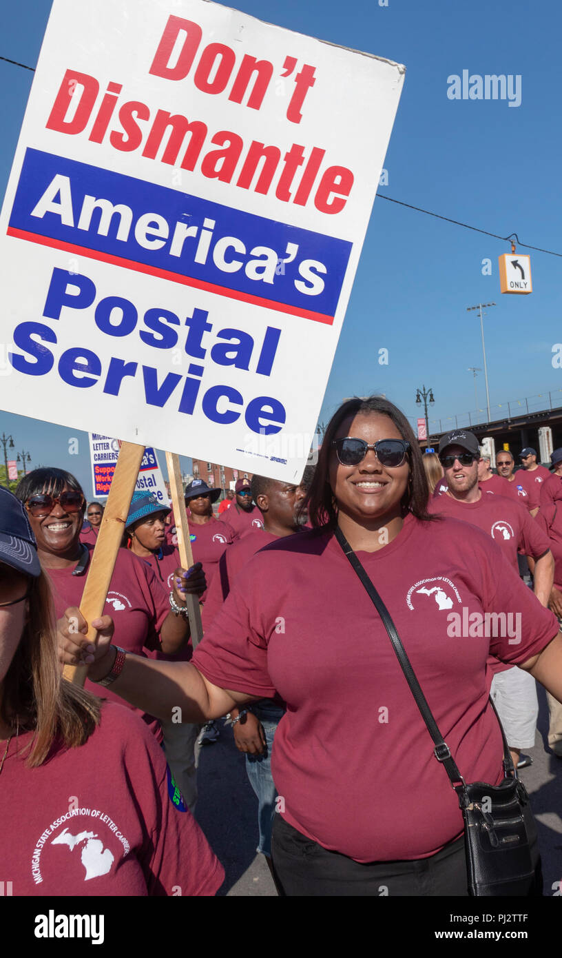 Detroit, Michigan - 3 September 2018 - Members of the American Postal Workers Union march in Detroit's Labor Day parade, protesting President Trump's  - Stock Image