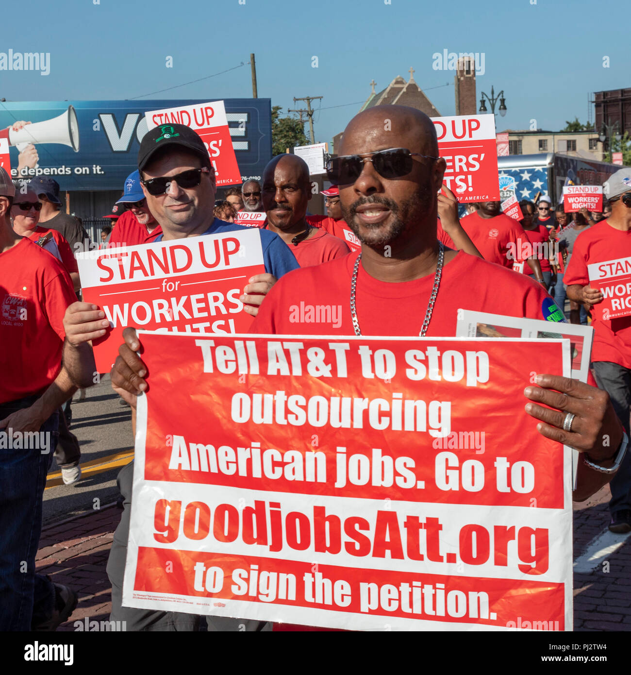 Detroit, Michigan - 3 September 2018 - Members of the Communications Workers of America join Detroit's Labor Day parade, campaigning for jobs at AT&T. - Stock Image