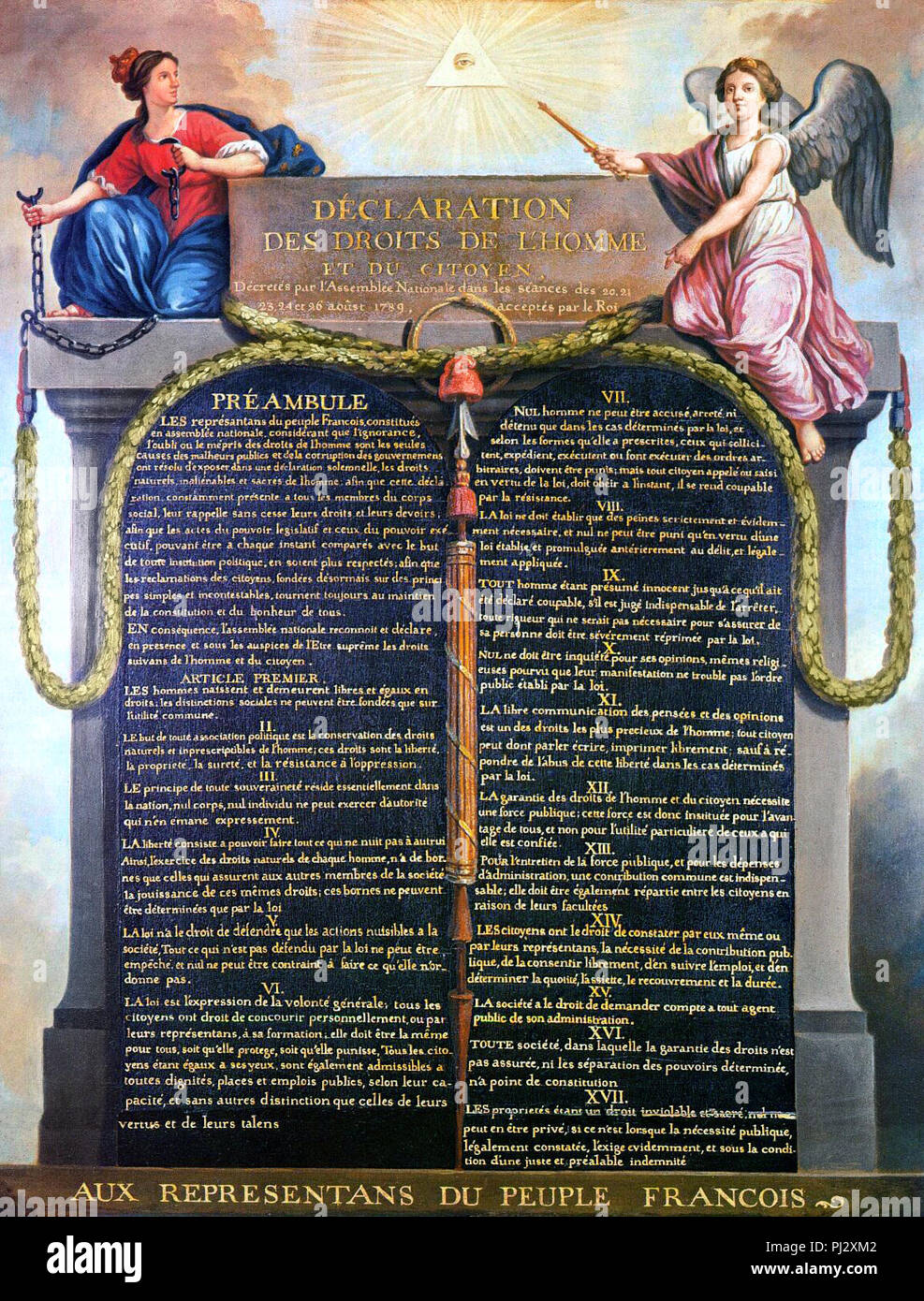 Declaration of the Rights of Man and of the Citizen in 1789 - Jean-Jacques-Francois Le Barbier - Stock Image