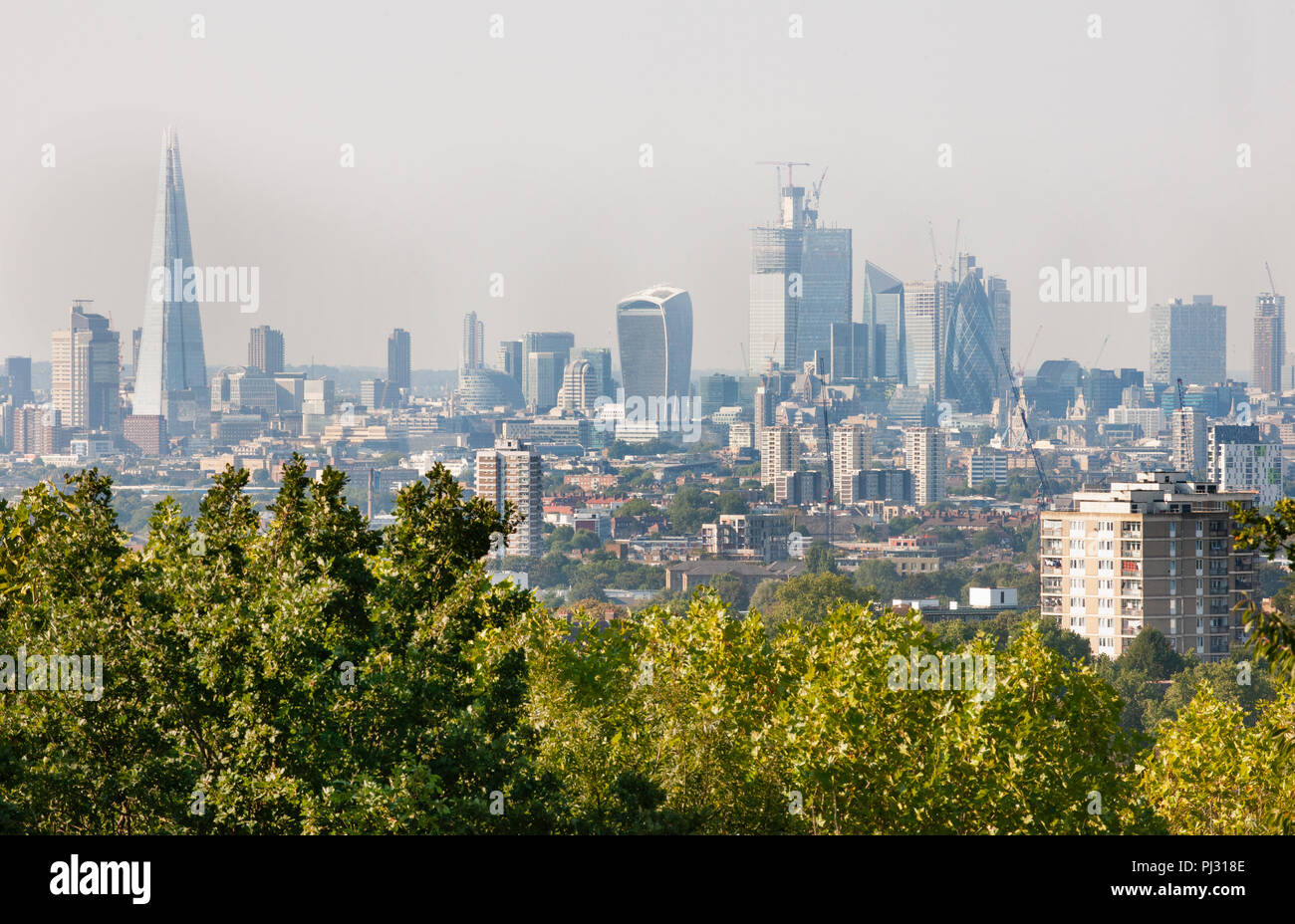 View over City of London skyline from One Tree Hill, Honor Oak, Southwark, London, United Kingdom Stock Photo
