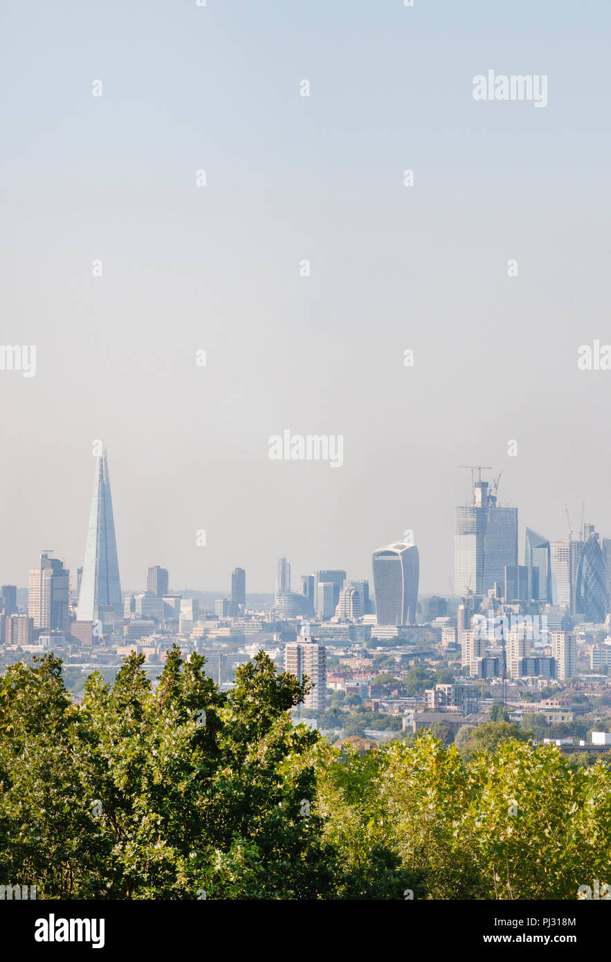 View of City of London skyline from One Tree Hill, Honor Oak, Southwark, London, United Kingdom Stock Photo