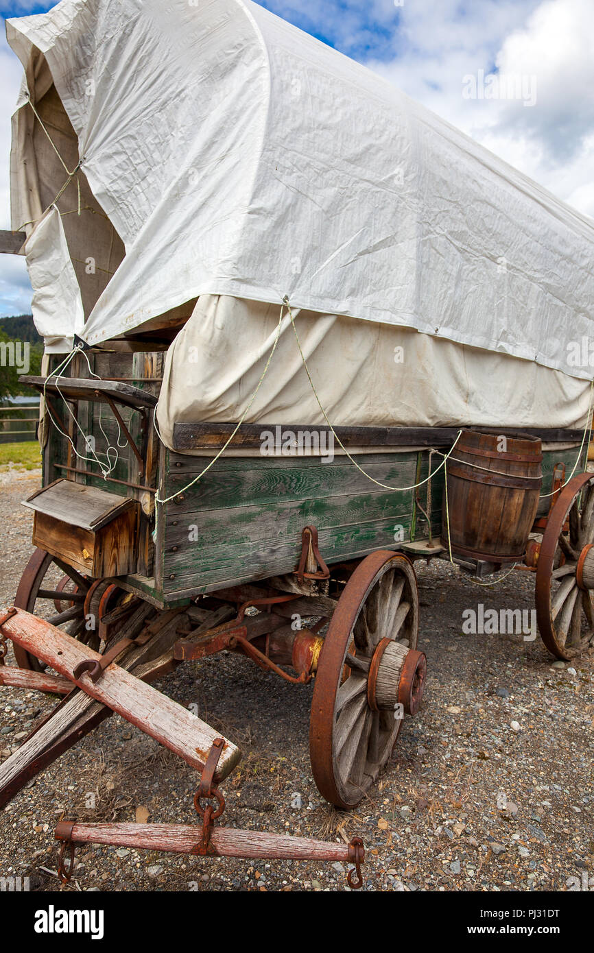 Covered wagon in McLeese Lake British Columbia Canada - Stock Image
