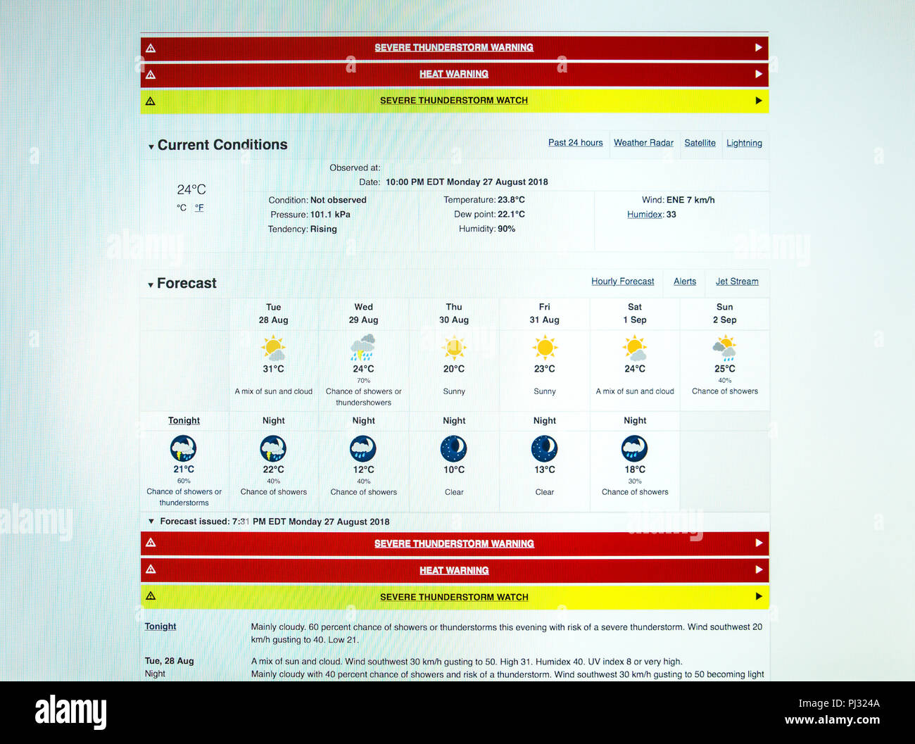 computer weather forecast with severe weather warning - Stock Image