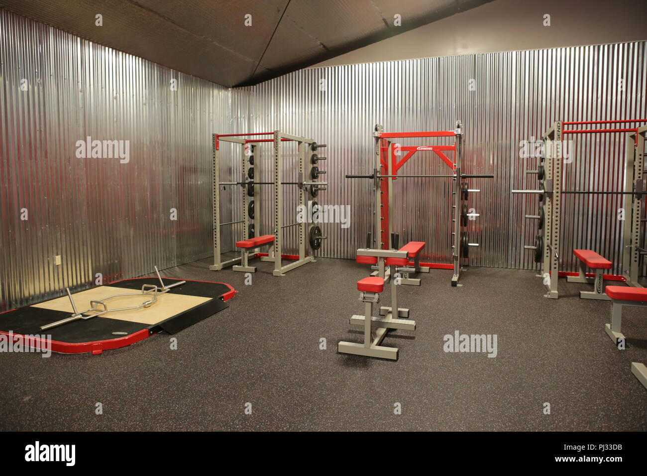 fitness equipment at a modern gym - Stock Image