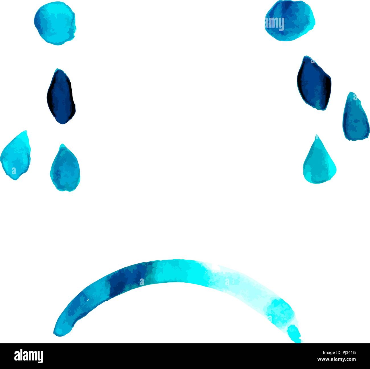 Blue. Abstract vector sad face with tears, hand painted in watercolor, depression concept - Stock Vector
