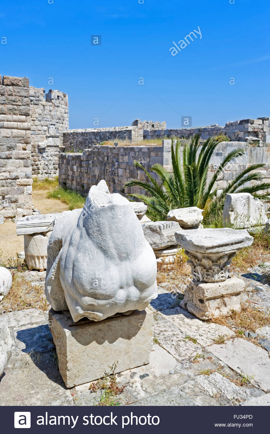 Archaeological findings, Castle of the Knights, Kos, Dodecanese Islands, Greece, Europe - Stock Image