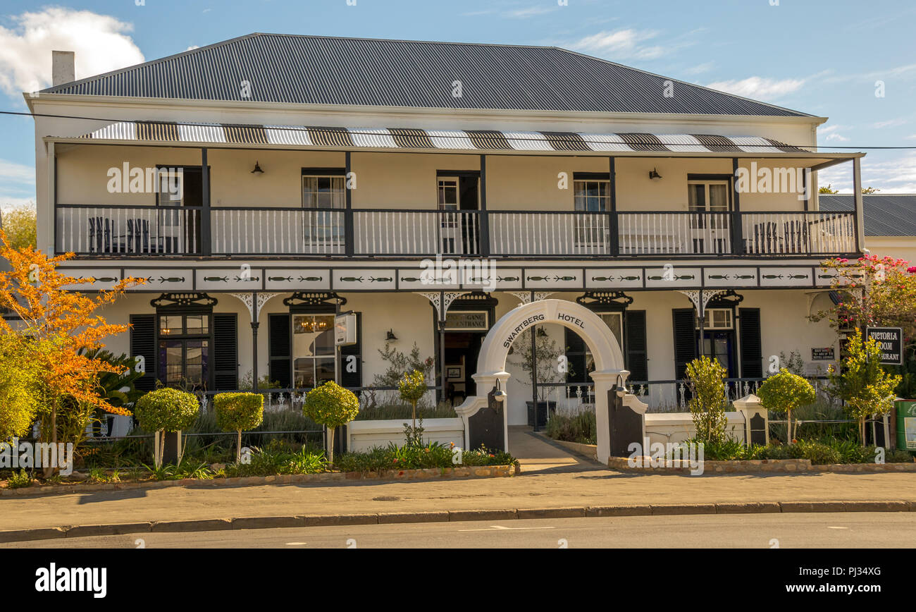Prince Albert, South Africa - the historic Swartberg Hotel building in the small Karoo town image in landscape format - Stock Image