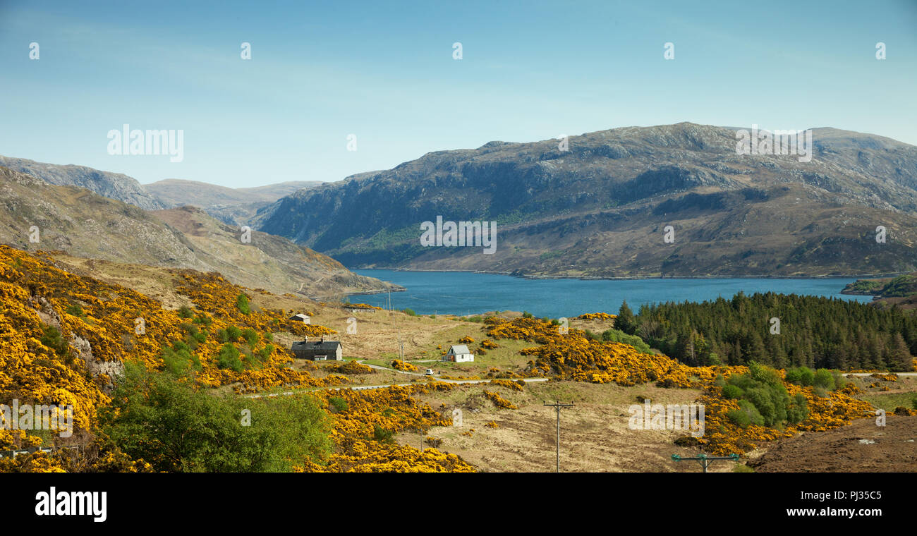 Sparsely populated area in the north of Scottish Highlands. UK. - Stock Image