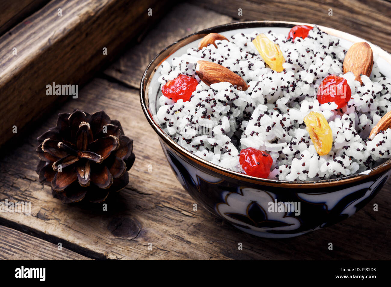 Kutia - traditional Christmas sweet meal.Kutya.Traditional Christmas table.Ukrainian Christmas kutya - Stock Image