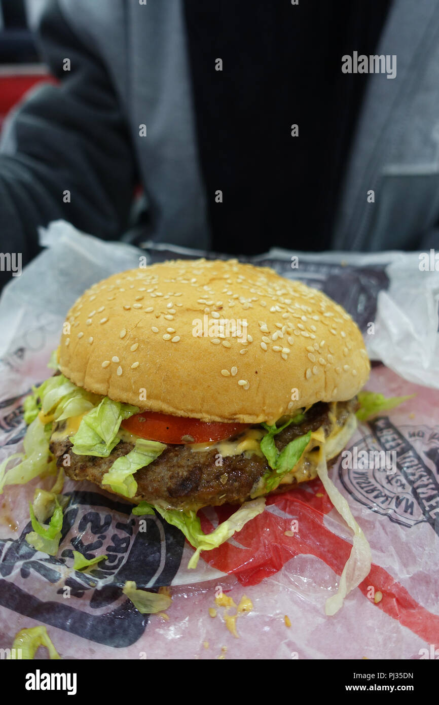 Australian fast food Hungry Jack's (Burger King) beef burger - Stock Image