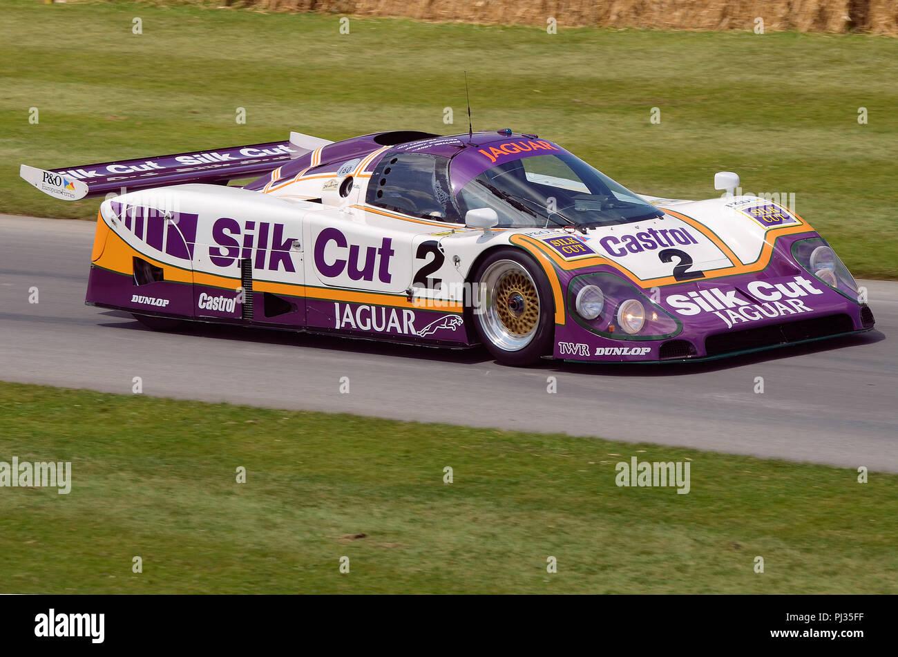 Le Mans Silk Cut Jaguar XJR-9 LM at Goodwood Festival Of Speed. Sports prototype racing car won 1988 FIA World Sports Prototype Championship - Stock Image