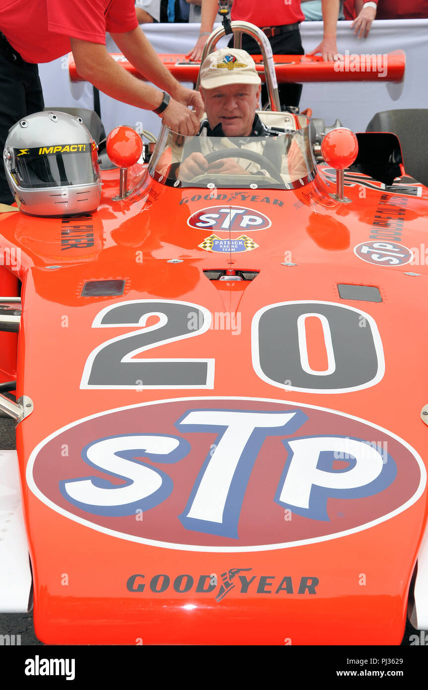 Eagle 7200 Offenhauser STP Indy 500 historic racing car at the Goodwood Festival of Speed, FoS. Classic Indianapolis 500 race car - Stock Image