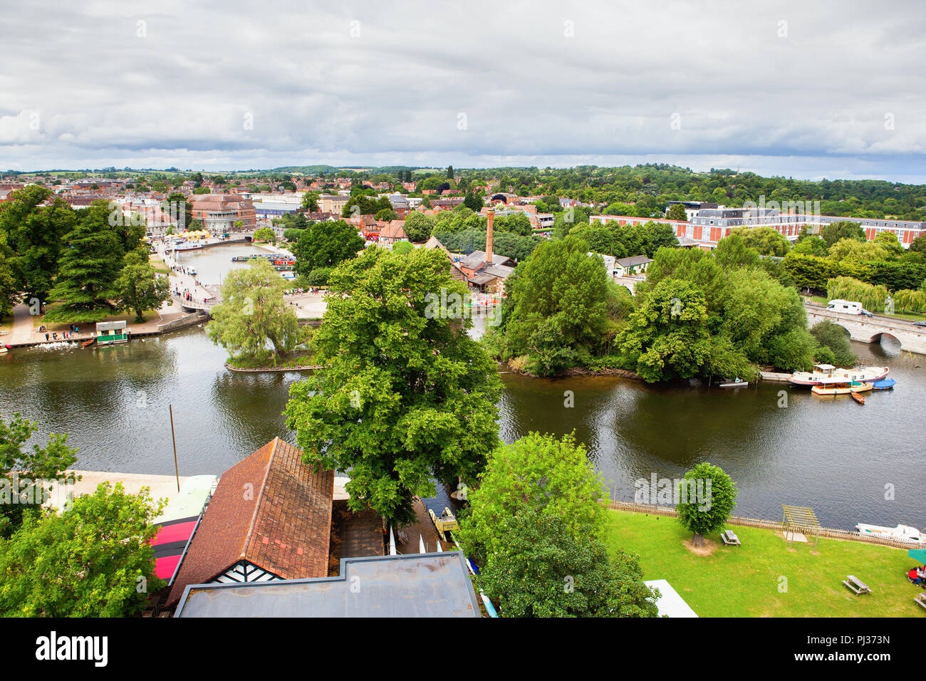 Elevated view of Stratford-Upon-Avon, Warwickhire, England, the birthplace of William Shakespeare, selective focus - Stock Image