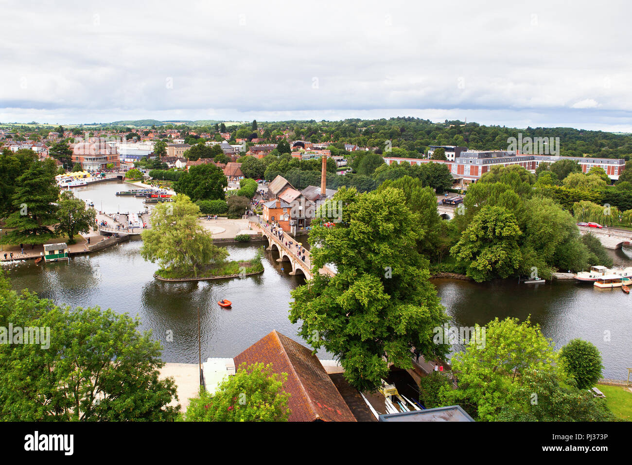 View of Stratford-Upon-Avon from the air, Warwickhire, England, the birthplace of William Shakespeare, selective focus - Stock Image