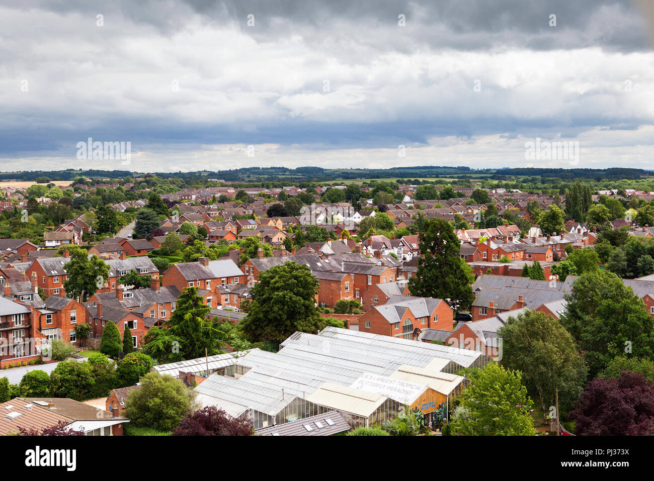 View from above of Stratford-Upon-Avon, Warwickhire, England, butterfly farm, selective focus - Stock Image