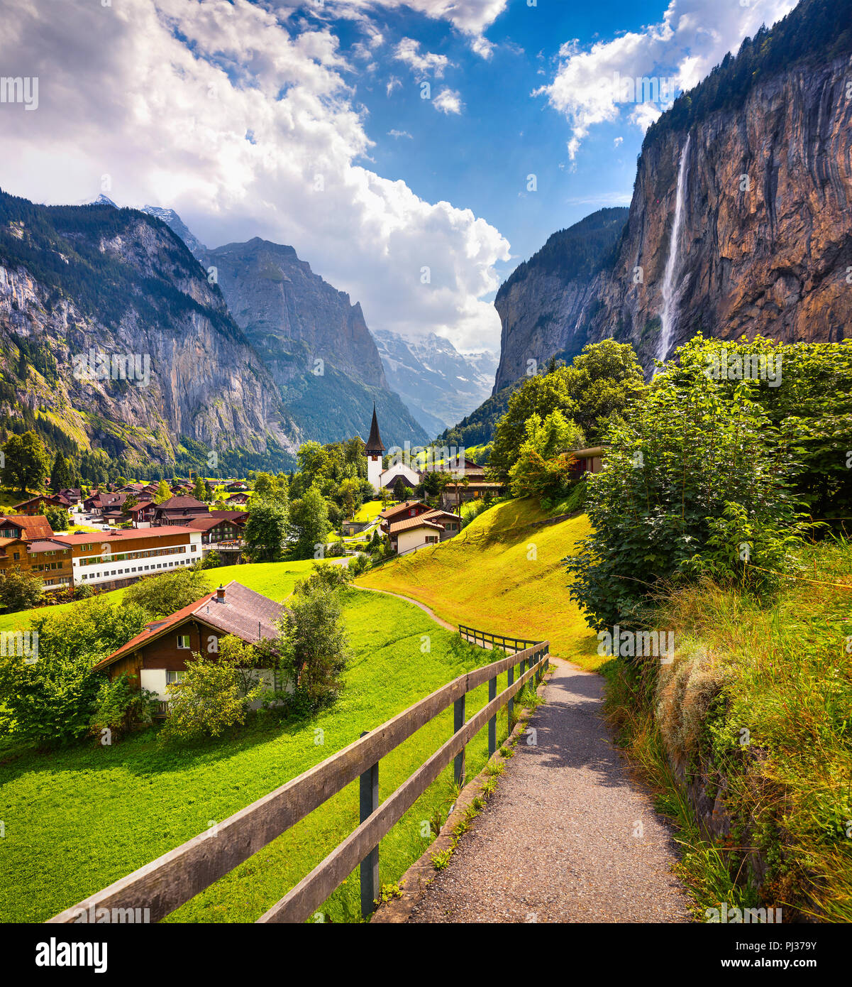 Colorful Summer View Of Lauterbrunnen Village Beautiful Outdoor Scene In Swiss Alps Bernese Oberland In The Canton Of Bern Switzerland Europe