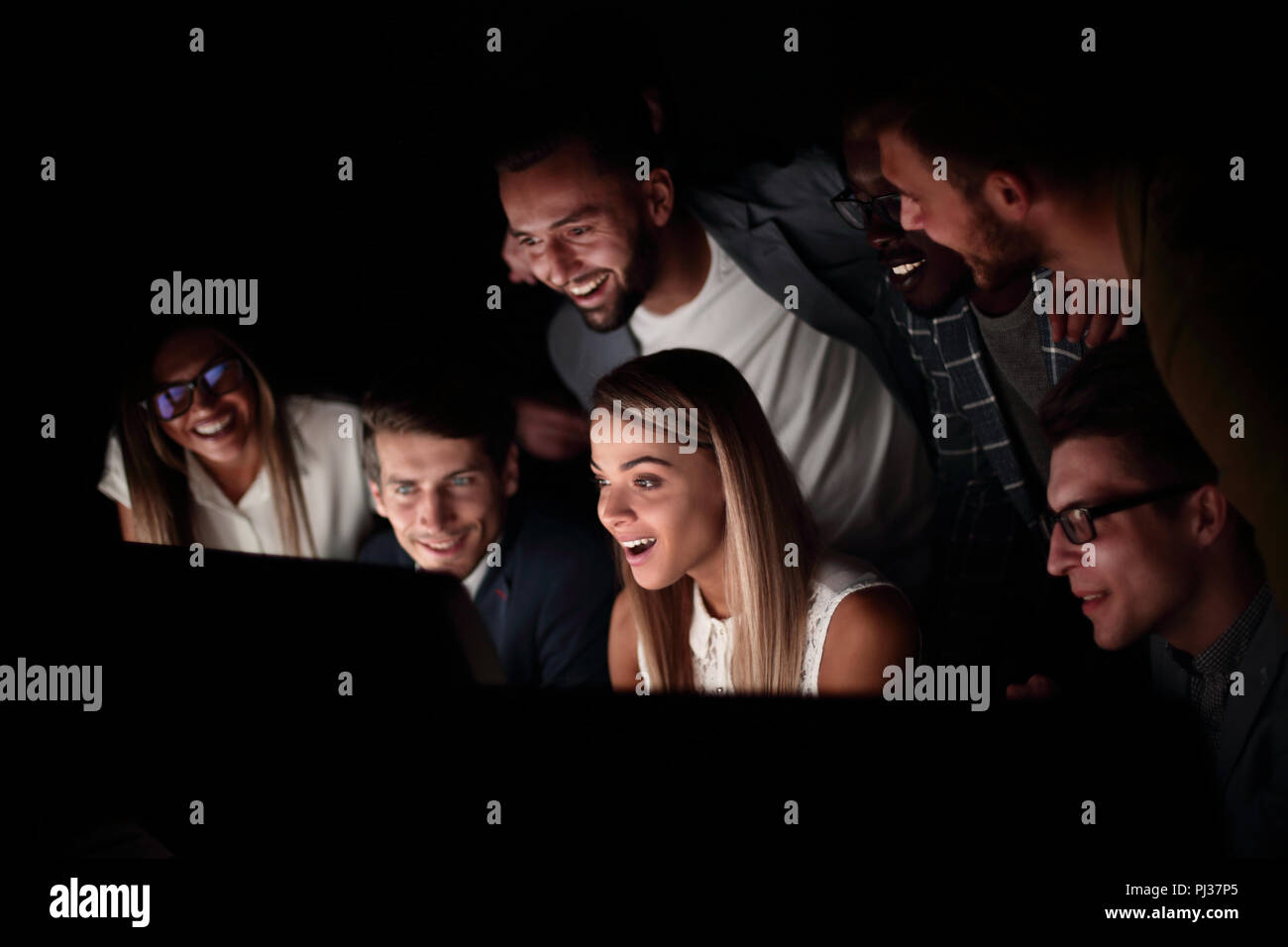 close up.a successful business team runs on computers - Stock Image
