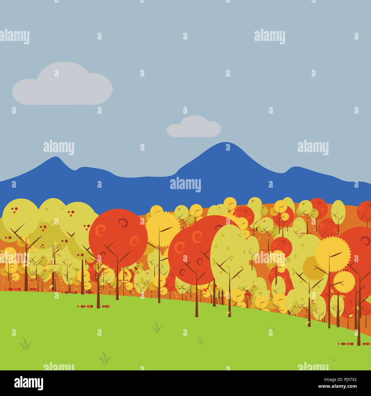 simple mountain view forest vector art autumn scenery illustration