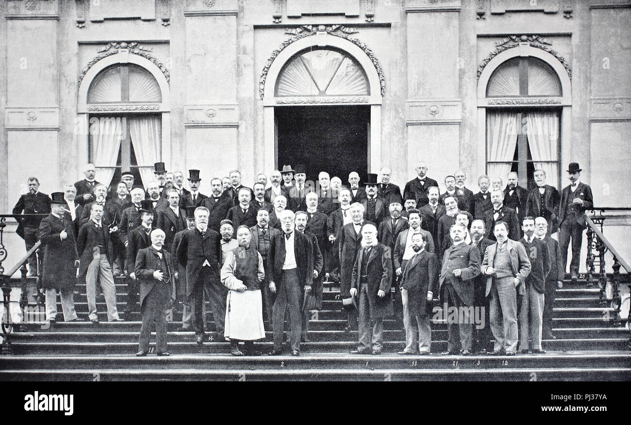 the members of Hague Convention of 1899, The Hague in the Netherlands, digital improved reproduction of an original from the year 1895 - Stock Image