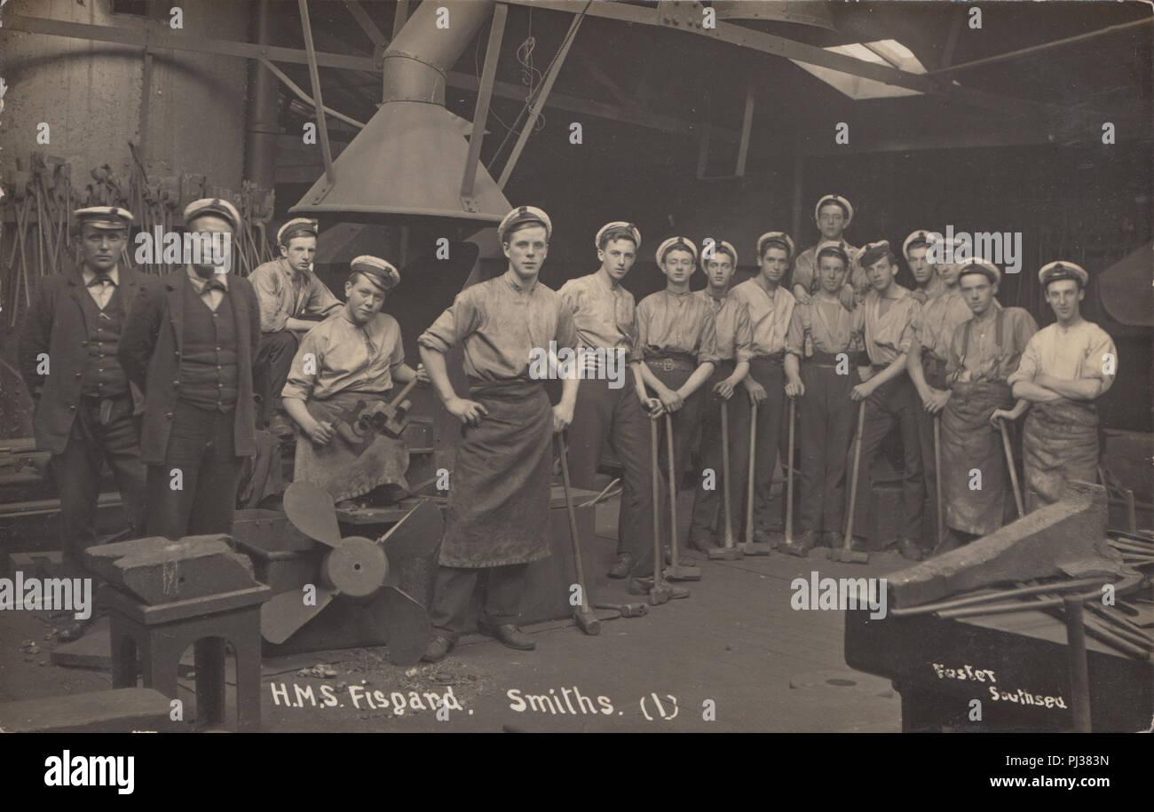 Vintage Photographic Postcard of The Blacksmiths at H.M.S.Fisgard - Stock Image