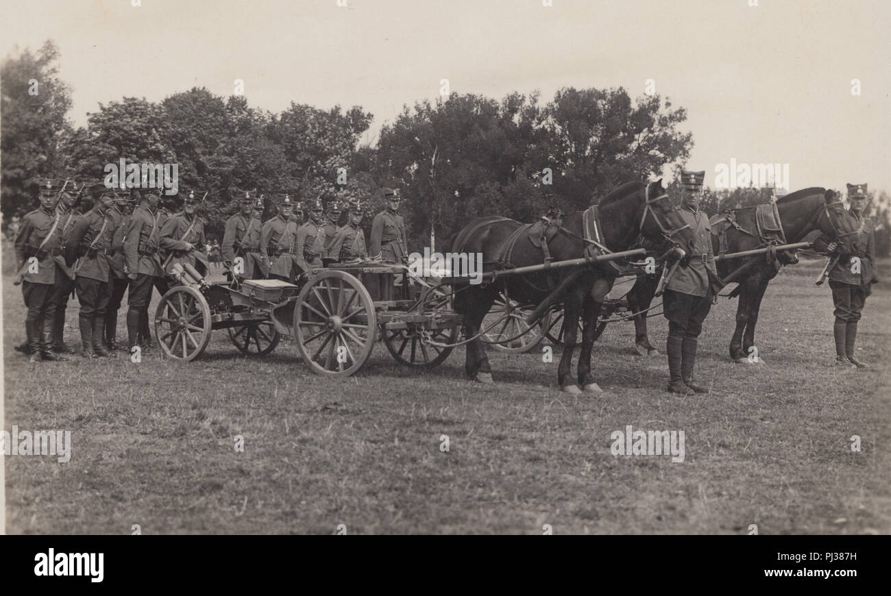 Vintage Photograph of German Horse Artillery - Stock Image