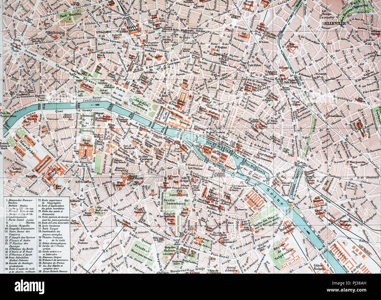 street map of Paris, 1890, France, digital improved reproduction of ...
