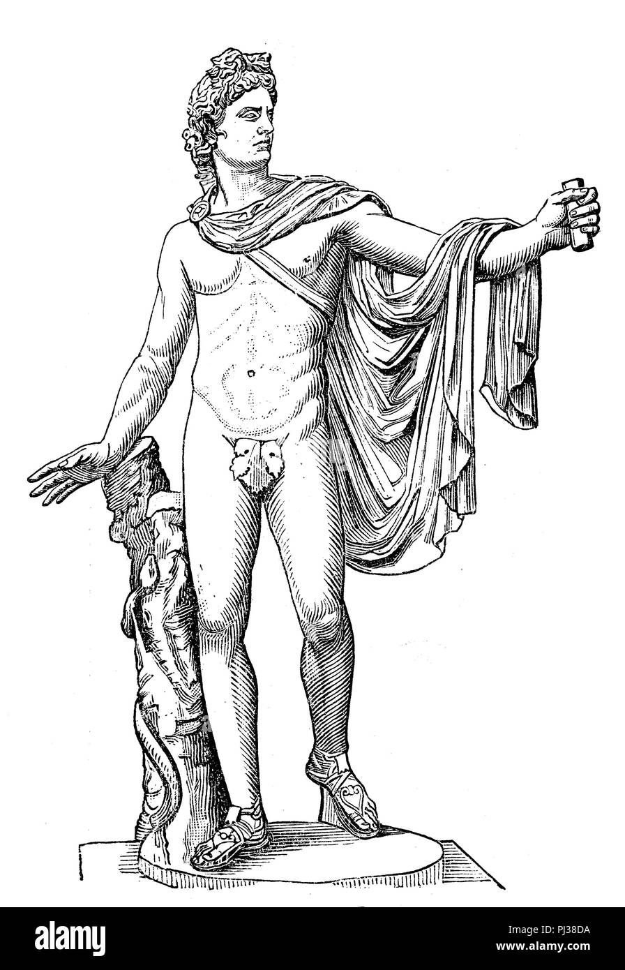 Apollo, ancient Greek god of light, healing and poetry, digital improved reproduction of an original from the year 1895 - Stock Image