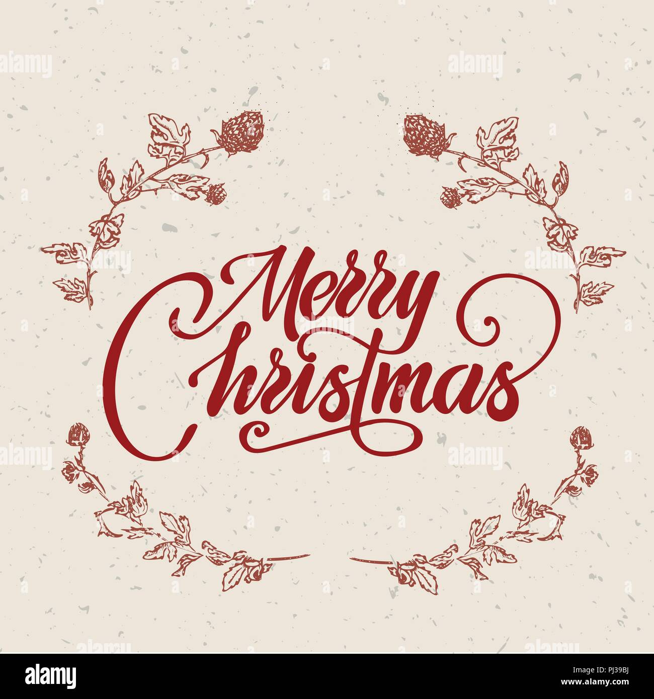 Merry christmas text vector on white background. Lettering for ...