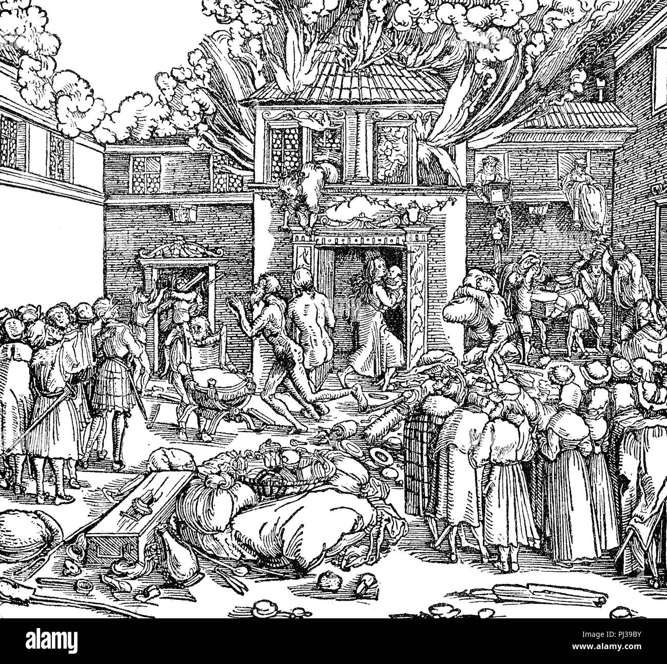 fire, conflagration in a city in the middle ages, 1690  , digital improved reproduction of an original from the year 1895 - Stock Image