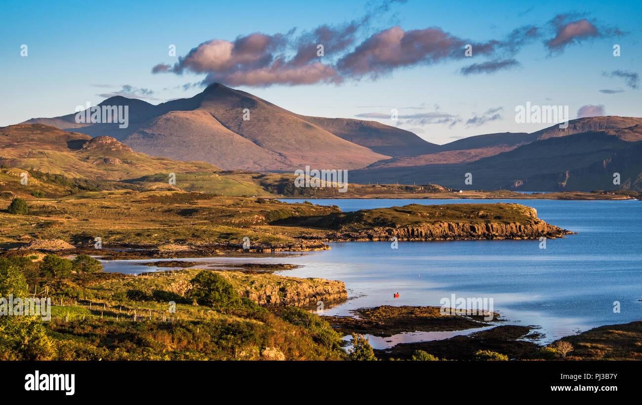 Looking over to Ben More caught with the evening light on the island of Mull In Scotland - Stock Image