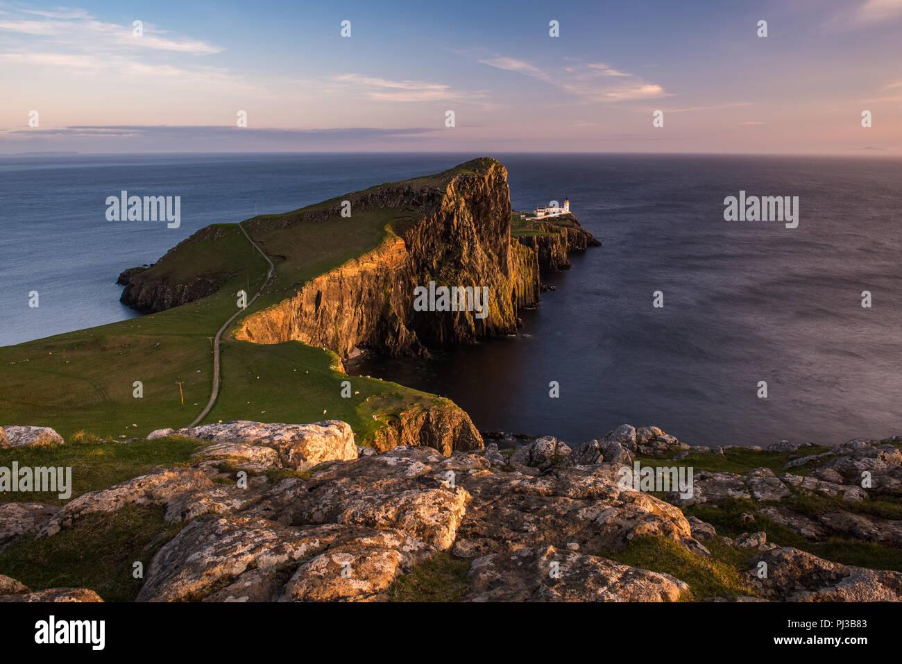 The lighthouse built by David Stevenson at Neist point on Skye, Scotland - Stock Image