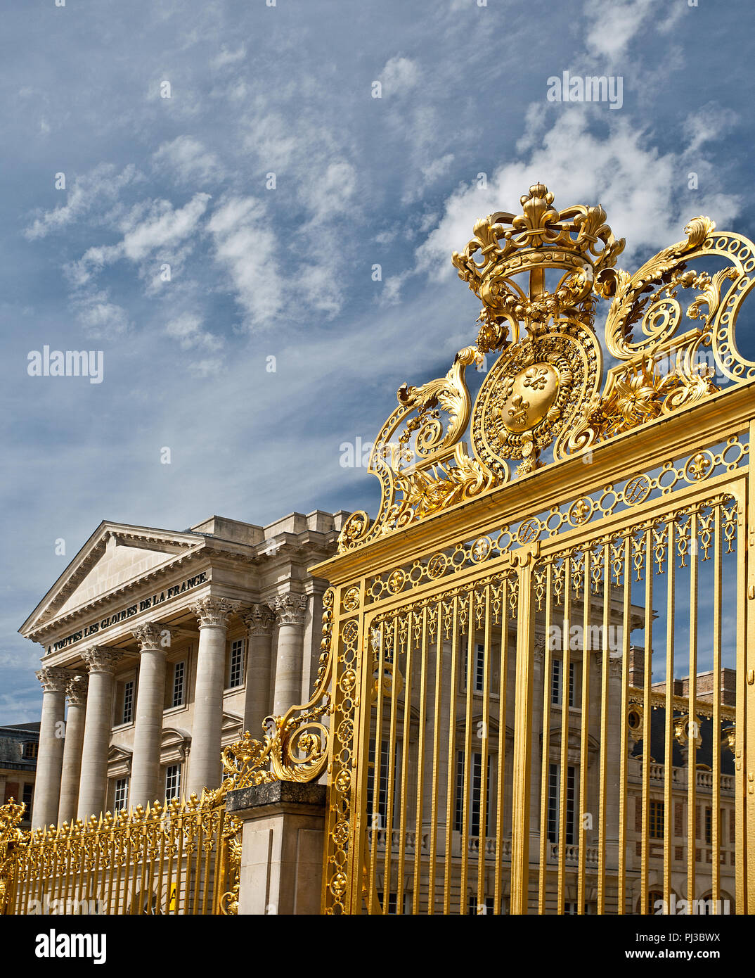 The golden gates of Versailles - Stock Image
