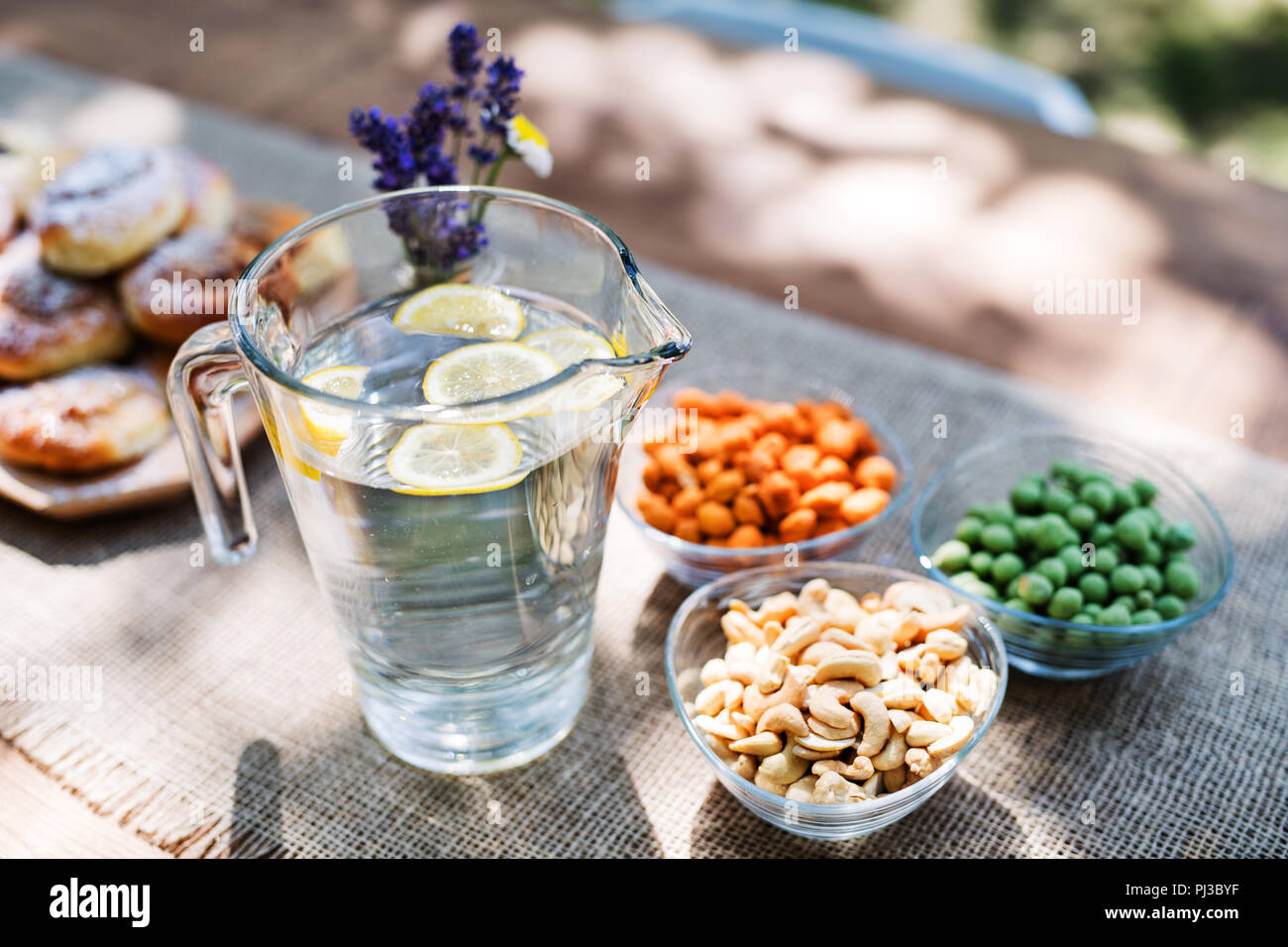 Table set for a garden party or celebration outside. - Stock Image