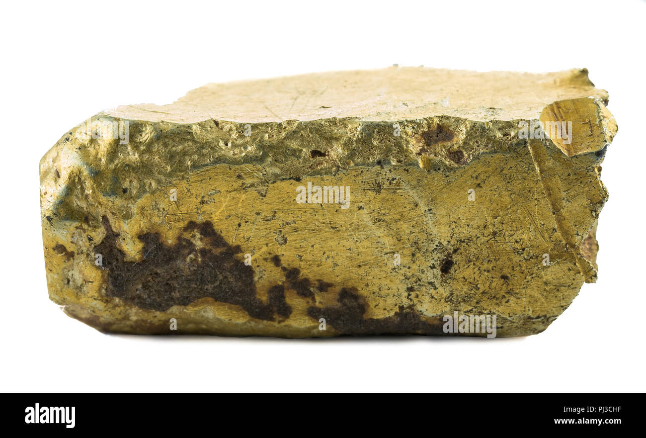 Small rough gold ingot of ancient time. - Stock Image