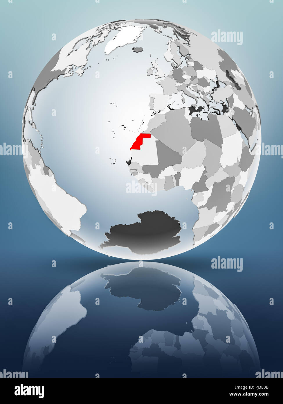 Western Sahara on globe with translucent oceans on shiny surface. 3D illustration. - Stock Image