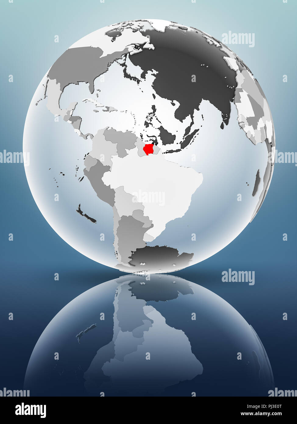Suriname on globe with translucent oceans on shiny surface. 3D illustration. - Stock Image