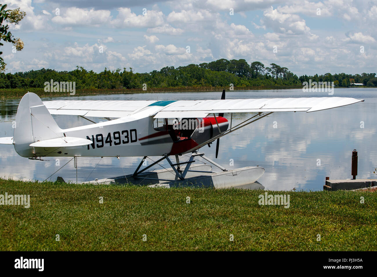 1958 Piper PA-18-150 Super Cub (N9493D) beached on the shores of Lake Jessie, Jack Brown's Seaplane Base (F57), Winter Haven, Florida, United States of America - Stock Image