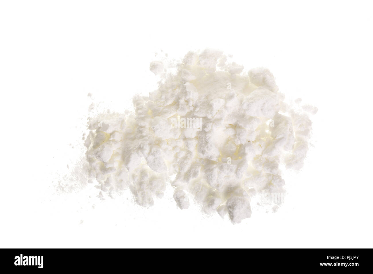 starch heap pile isolated on white background. Top view. Flat lay Stock Photo
