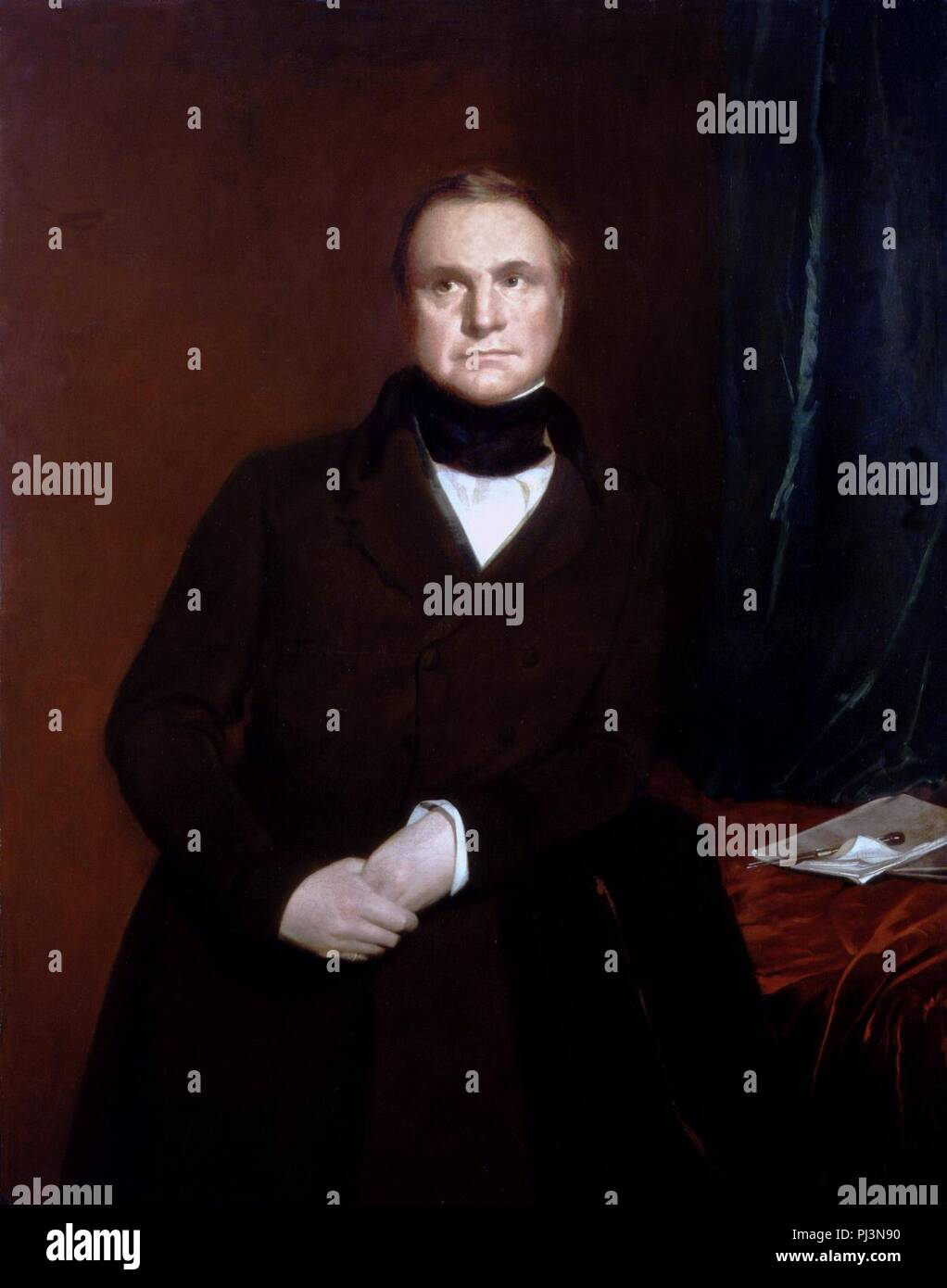 Charles Babbage by Samuel Laurence. - Stock Image