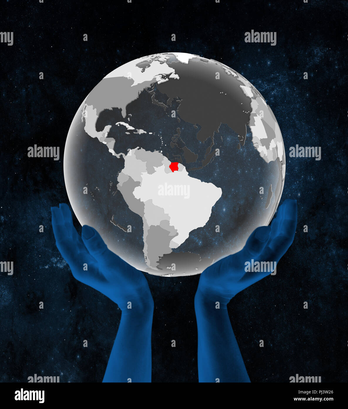 Suriname on translucent globe in hands in space. 3D illustration. - Stock Image