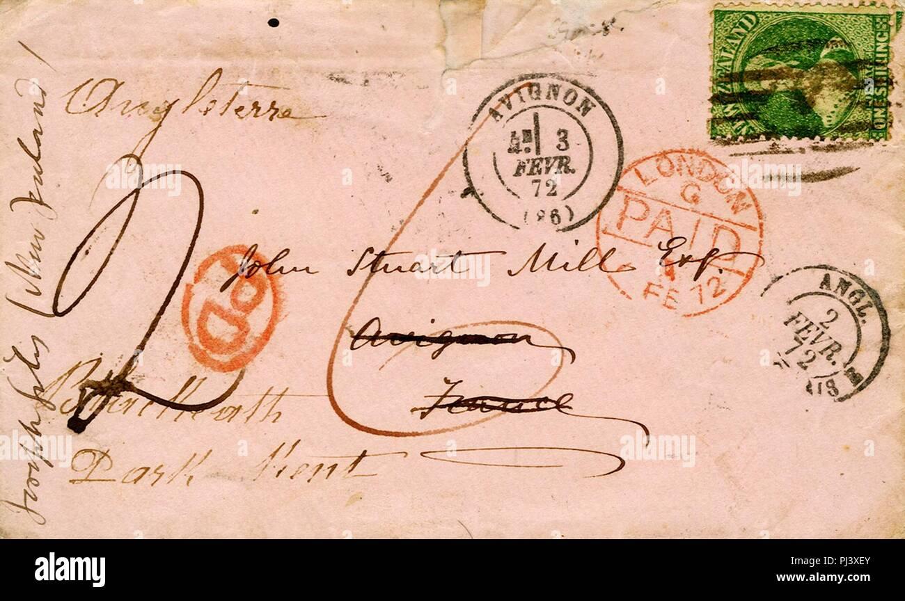 Avignon Lettre adressée à John Stuart Mill de Nouvelle-Zélande et passée à Avignon en transit le 3 février 1872. - Stock Image