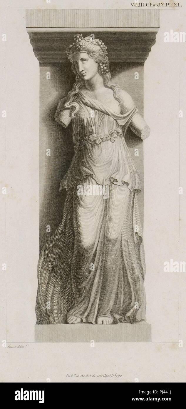 Bacchante with a Thyrsus - Stuart James & Revett Nicholas - 1794. Stock Photo