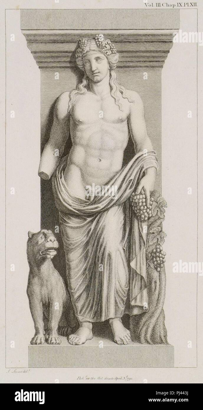 Bacchus with a Tiger See the Bacchae of Euripides - Stuart James & Revett Nicholas - 1794. Stock Photo