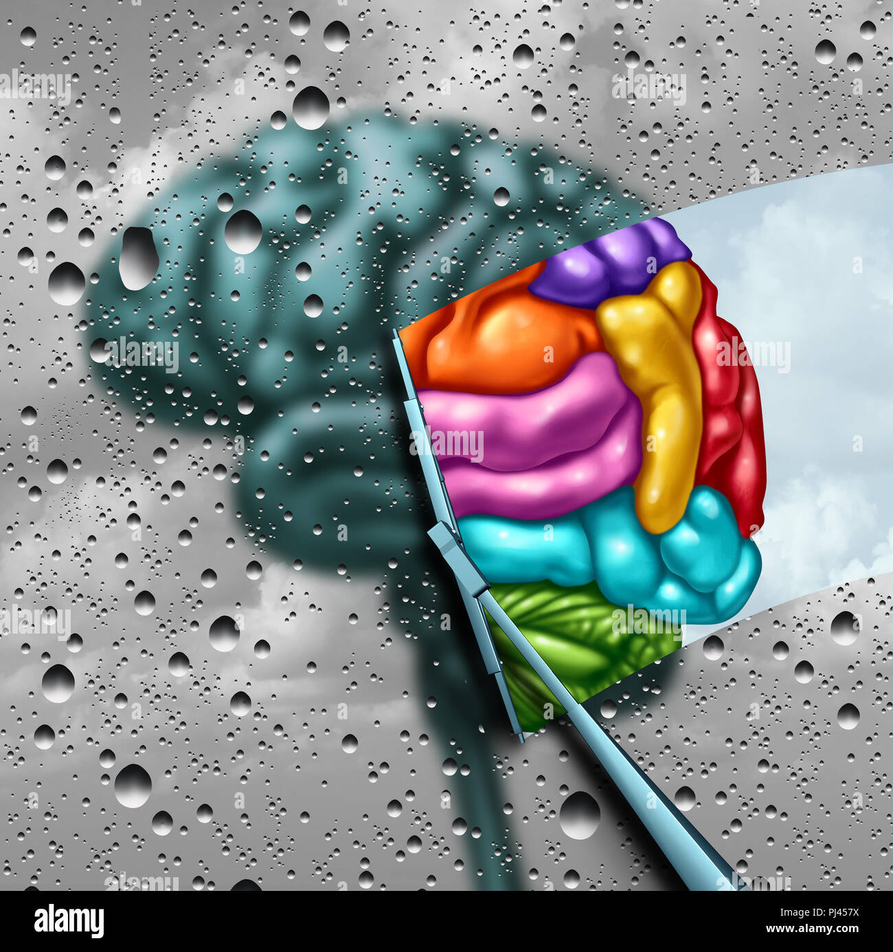 Brain creativity as a gray blurry brain with drops on a window as a wiper cleans the confusion to a creative thinking as a symbol of autism and autist - Stock Image