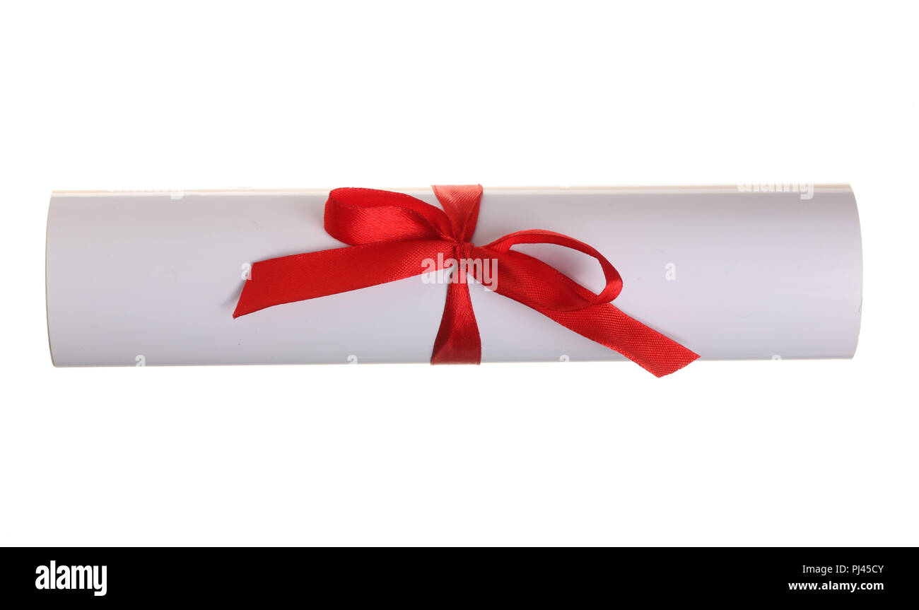 Diploma with red ribbon isolated on white background. Top view. Flat lay - Stock Image
