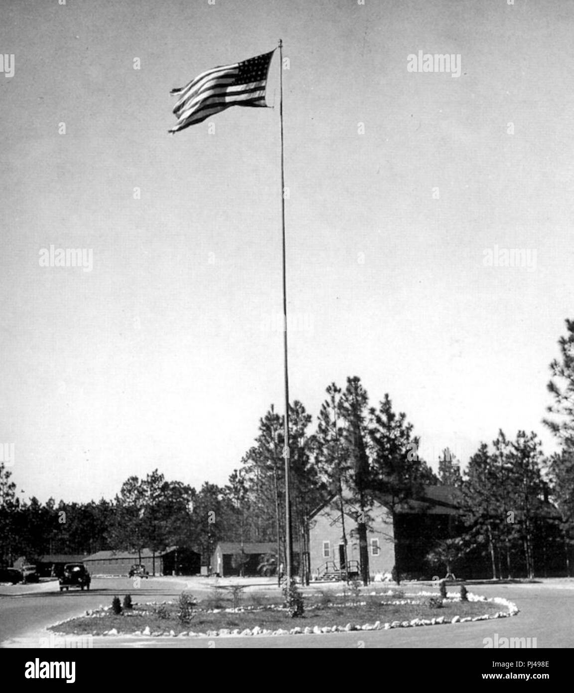 Bainbridge Army Airfield - Post Flagpole. - Stock Image